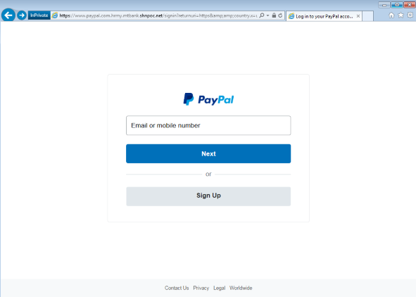 Paypal Phish is given away by the URL address bar going to a shnpoc[.]net address