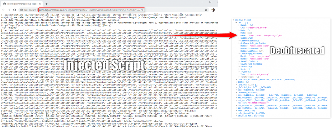 Malicious skimmer code hosted on BigCommerce CDN.