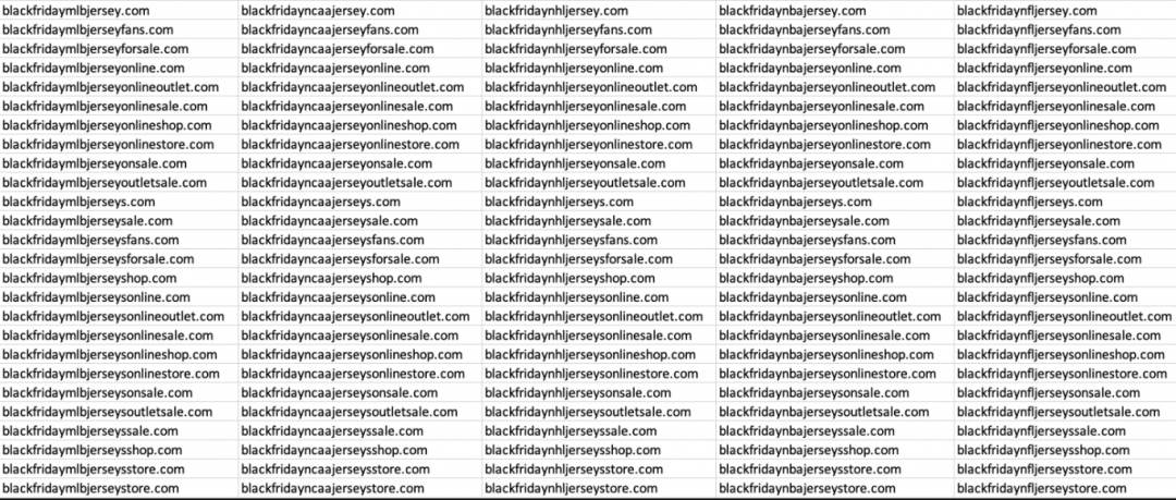 domains recently registered specifically scamming the sports' fans