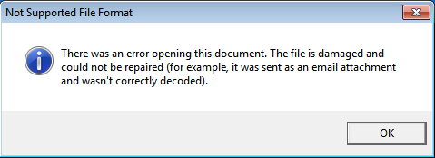 Error message to trick user into believing file is corrupt
