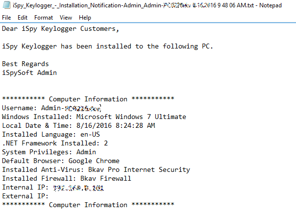 Installation notification contents