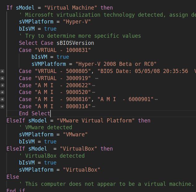 VM detection code
