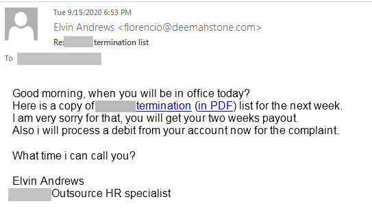 Spear Phishing email template 1