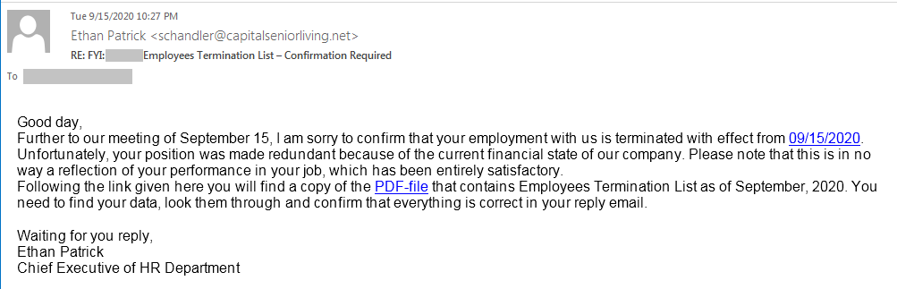 Spear Phishing email template 2