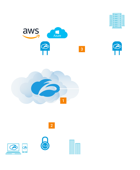 cloud architecture diagram of zpa's zero trust, it provides a SDP that works across any IT environments, any device and any internal apps
