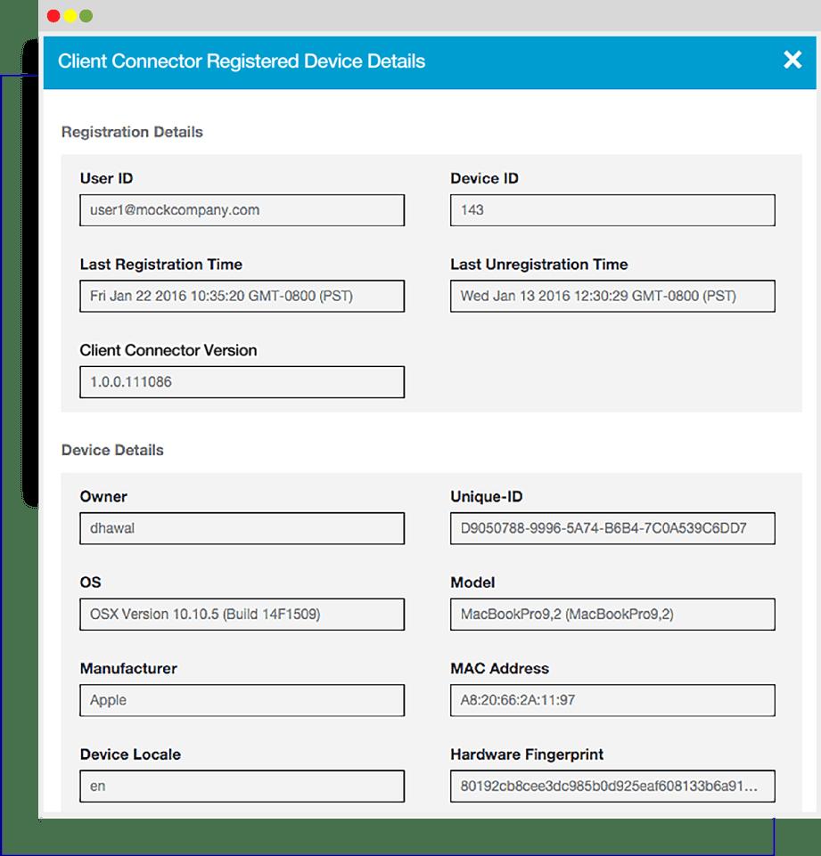 Zscaler Client Connectorの詳細なフィンガープリント機能により、可視性とレポートが強化され、情報に基づいて操作が容易になります。